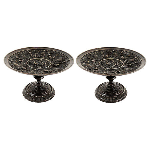 Antique Grand Tour Bronze Tazzas, Pair