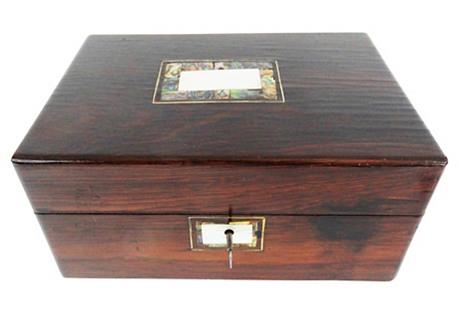Antique English Rosewood Box w/ Key