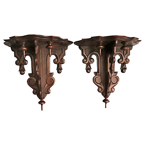 Antique Black Forest Wall Brackets, Pair