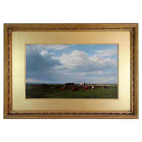 Antique Pastoral Landscape w/ Cattle