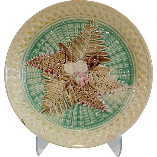 19th-C. Majolica Plate w/ Ferns