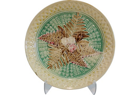 19th-C. Majolica Plate w/ Ferns