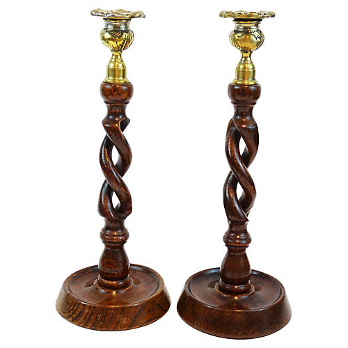 Antique Barley-Twist Candlesticks, Pair