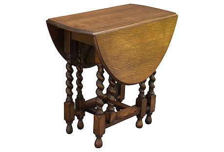 English Oak Drop-Leaf Table, C. 1920