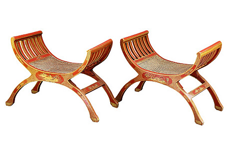 French Gilt Chinoiserie Benches, Pair