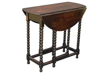 English Oak Bobbin Drop-Leaf Table