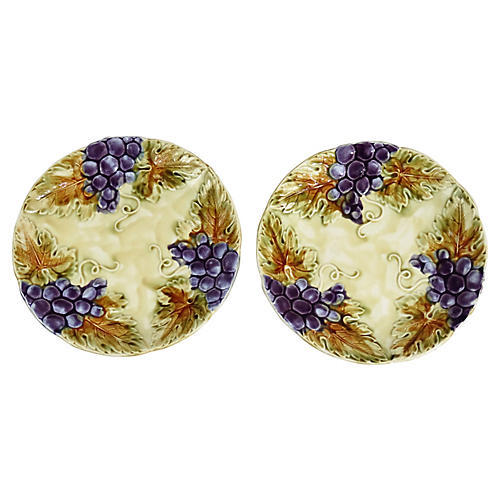 French Majolica Wall Plates, Pair