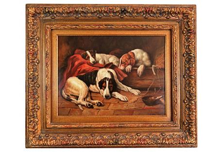 Dogs in Hay Barn Portrait