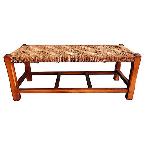 Oak Footstool w/ Woven Seat
