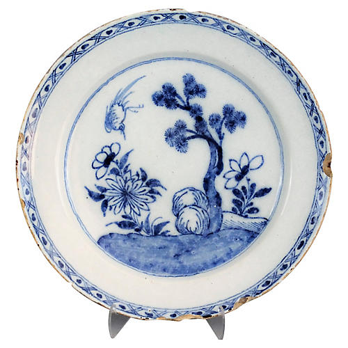 18th-C. Dutch Delft Chinoiserie Charger