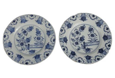 Dutch Delft Chinoiserie Plates, Pair