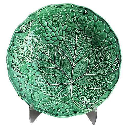Early Majolica Grape & Leaf Plate