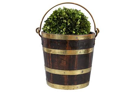 19th-C English Brass Banded Wine Bucket