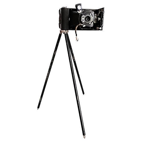 Folding Kodak Camera & Tripod