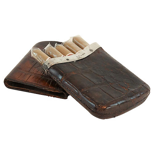 19th-C Gent's Crocodile Cigar Case