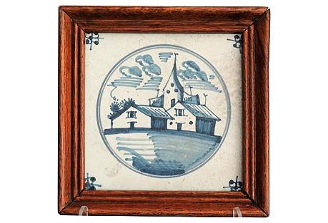 Antique Dutch Delft Tile with Landscape