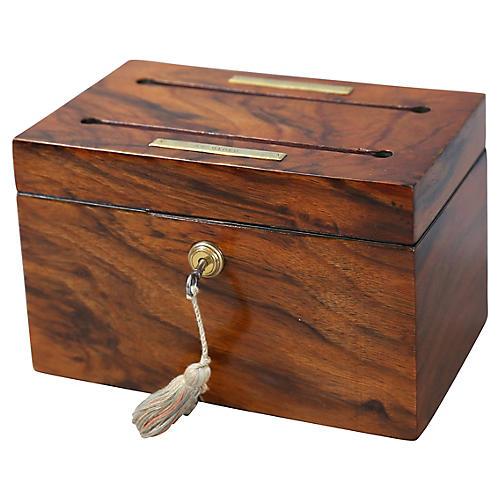 Antique Rosewood Letter Box, Brahma Lock