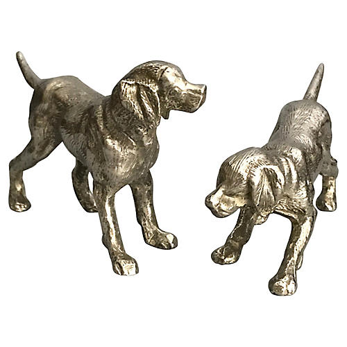 Silver Dog Sculptures, S/2