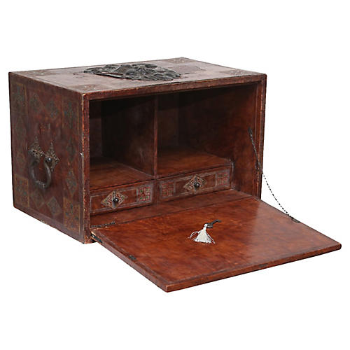 Spanish Leather Desk, Lock & Key