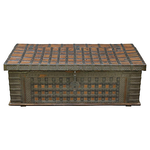 British Colonial Iron Trunk Coffee Table