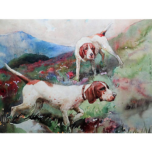 Sporting Dogs in a Highland Landscape