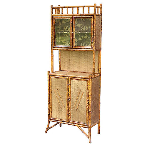 19th-C. French Bamboo Cabinet
