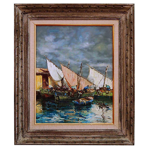 Impressionist Dock Scene, Marcel Stebler