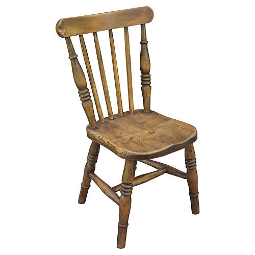 19th-C. English Elm Child's Chair