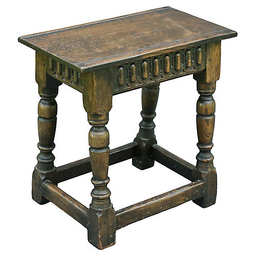 19th-C. English Oak Joint Stool