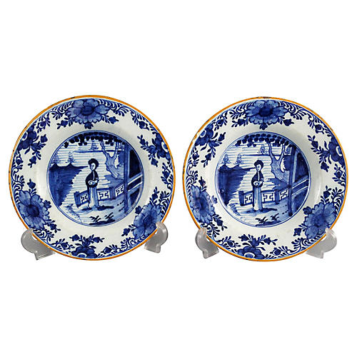 18th-C. Delft Long Eliza Plates, S/2