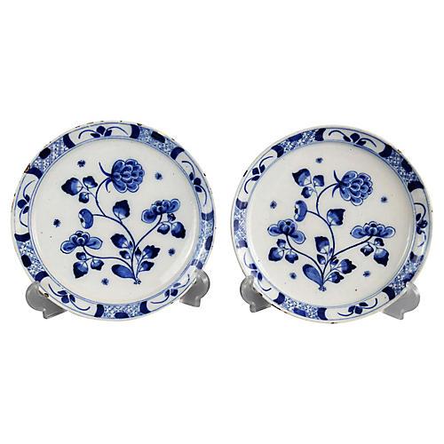 18th-C. Delft Chinoiserie Plates, S/2