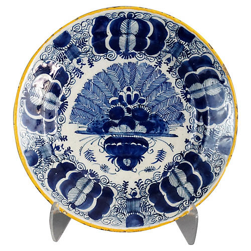 18th-C. Delft Peacock Plate w/Mark
