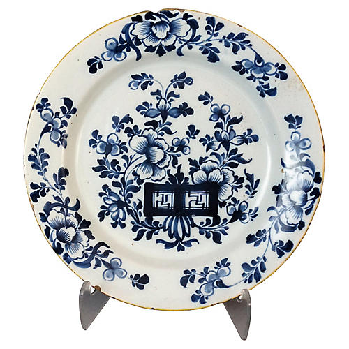 18th-C. Delft Chinoiserie Plate
