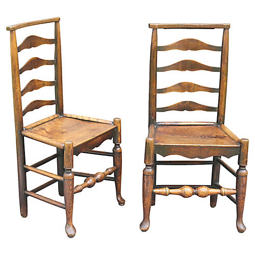 18th-C. Elm Youth Chairs, Pair