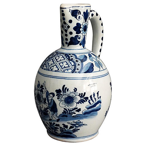Delft Chinoiserie Pitcher with Figure