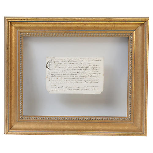 Framed 18th-C. French Document
