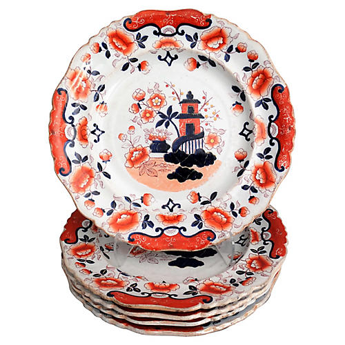 19th-C. Chinoiserie Plates, S/4