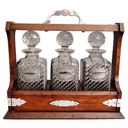 19th-C. Liquor Tantalus w/ Lock & Key