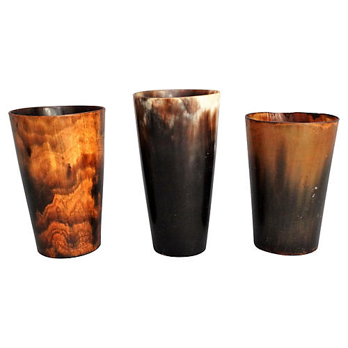 19th-C. Horn Stirrup Cups, Set of 3