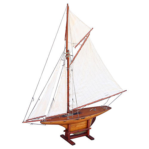 19th-C. English Pond Yacht
