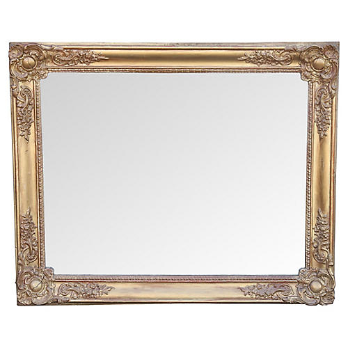 19th-C. French Giltwood Mirror