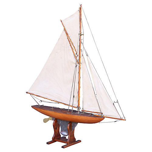 19th-C. English Pond Yacht Schooner