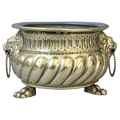 Early Brass Jardiniere with Lion Masks