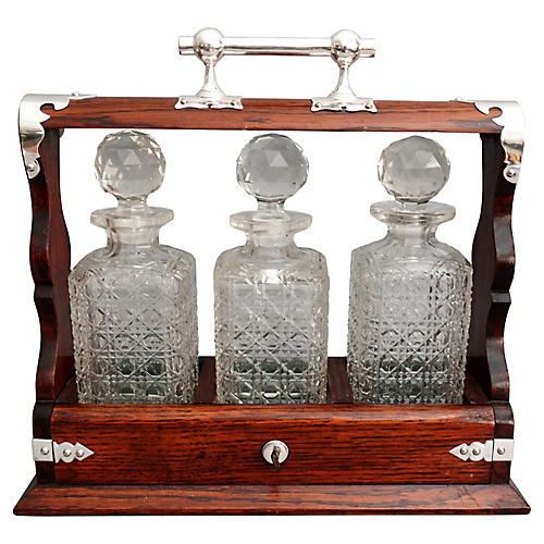 19th-C. Liquor Tantalus, Lock & Key