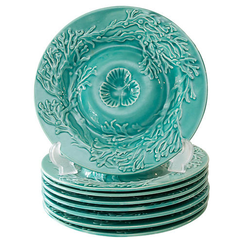 French Majolica Gien Oyster Plates, S/8