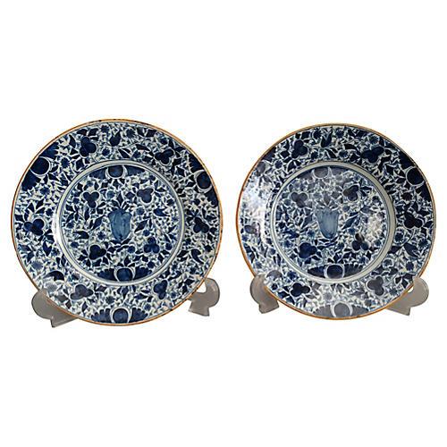 18th-C. Dutch Delft Plates, Pair