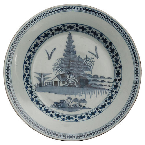 18th-C. Delft-Style Chinoiserie Charger