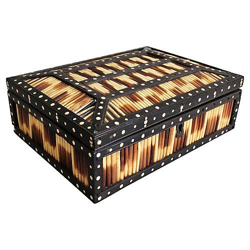 Antique Porcupine Quill & Bone Box