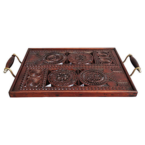 English Carved Serving Tray