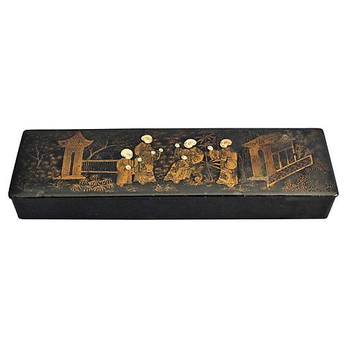 Papier-Mâché Gilt Pen & Pencil Box
